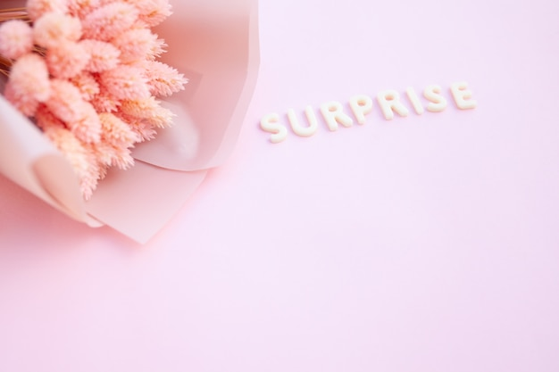 Belles fleurs séchées roses sur fond rose avec l'inscription surprise en lettres blanches