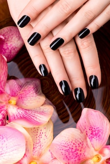 Belles mains de femmes avec manucure noire après les procédures de spa - concept de traitement spa