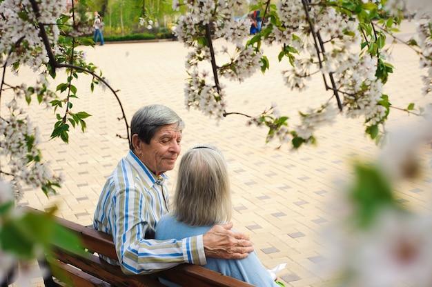 Belles personnes âgées heureux assis dans le parc en automne.