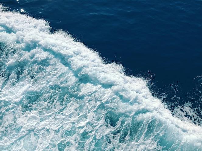 Belles vagues de mousse blanches de la mer