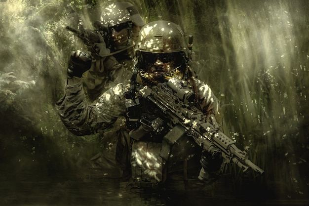 Bérets verts soldats dans la jungle