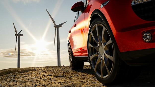 Berline de voiture 3d sur le fond d'un moulin à vent et du soleil, concept rendu 3d pour la publicité de produits automobiles.
