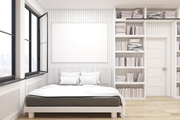 Bibliothèque à la maison avec un lit