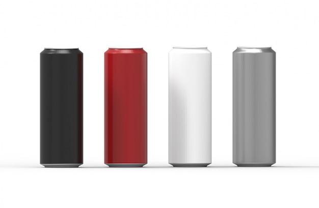 Bidons en aluminium de couleur isolés. rendu 3d.