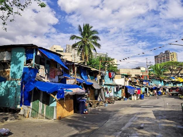 Les bidonvilles de la ville de manille aux philippines