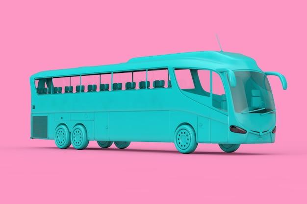 Big blue coach tour bus duotone sur fond rose. rendu 3d
