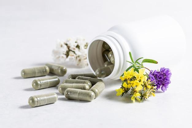 Big pilules à base de plantes dans une bouteille en plastique blanc sur fond blanc avec copie espace pour votre texte.