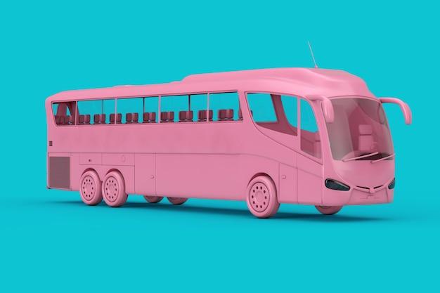 Big pink coach tour bus duotone sur fond bleu. rendu 3d