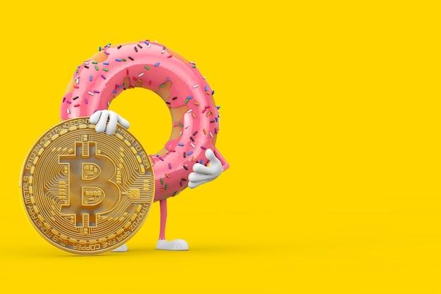 Big strawberry pink glazed donut character mascot avec digital et cryptocurrency golden bitcoin coin sur fond jaune. rendu 3d