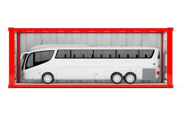 Big white coach tour bus dans un conteneur d'expédition rouge avec paroi latérale retirée sur fond blanc. rendu 3d.