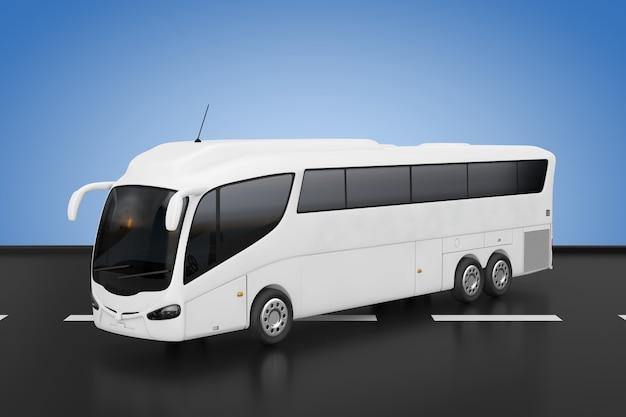 Big white coach tour inter city travel bus sur fond bleu. rendu 3d