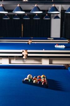 Billard bleu table boules cue jeu sport