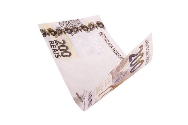 Billet de banque de deux cents rois tombant, argent du brésil