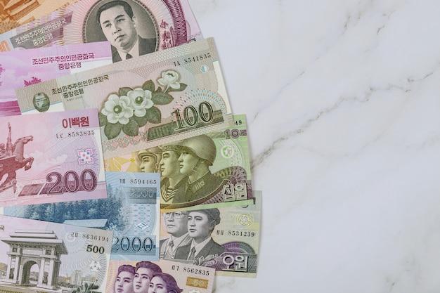 Billet de la corée du nord a gagné est le projet de loi en monnaie nationale