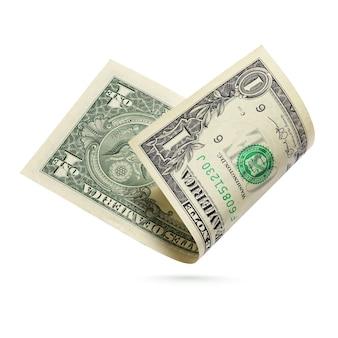 Un billet d'un dollar. billet de monnaie des états-unis isolé sur une surface blanche.
