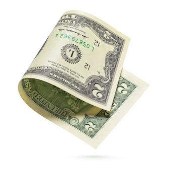 Billet de monnaie des états-unis isolé sur un blanc.