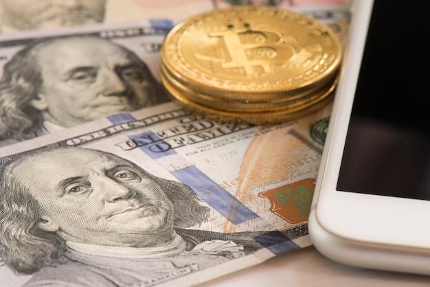 Billet de united avec bitcoin pour les affaires