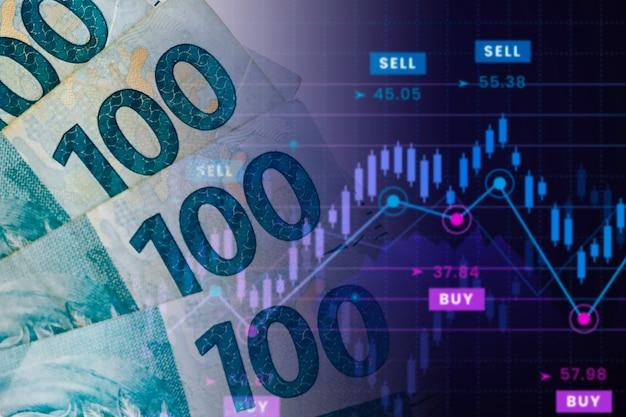 Billets de 100 reais avec tableau des valeurs. bourse brésilienne, cotation du real brésilien sur le marché.