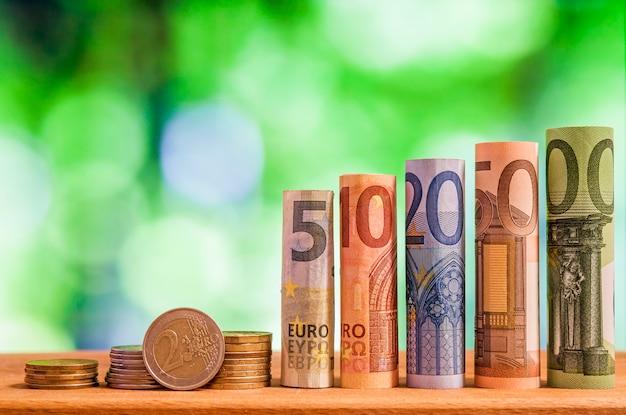 Billets de billets de cinq, dix, vingt, cinquante et cent euros roulés, avec des pièces en euros sur fond vert flou bokeh.
