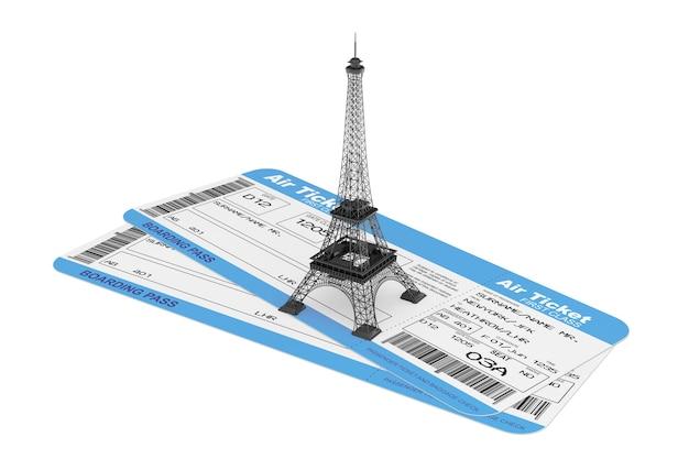 Billets de carte d'embarquement des compagnies aériennes avec la tour eiffel sur fond blanc