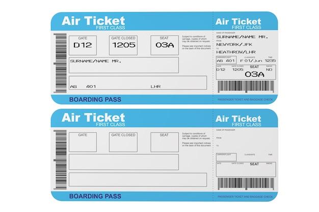 Billets de carte d'embarquement sur un fond blanc