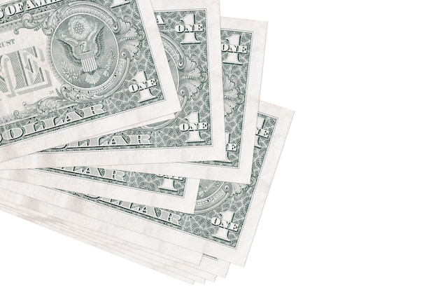 Billets d'un dollar américain portant en petit groupe sur une surface blanche