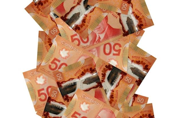 Billets d'un dollar canadien sur fond blanc