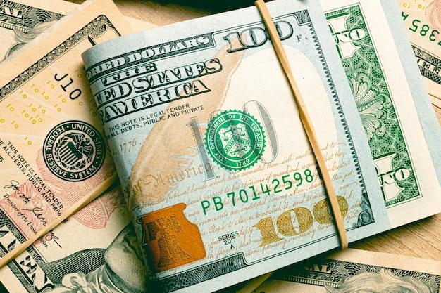 Billets en dollars américains en dollars américains en gros plan