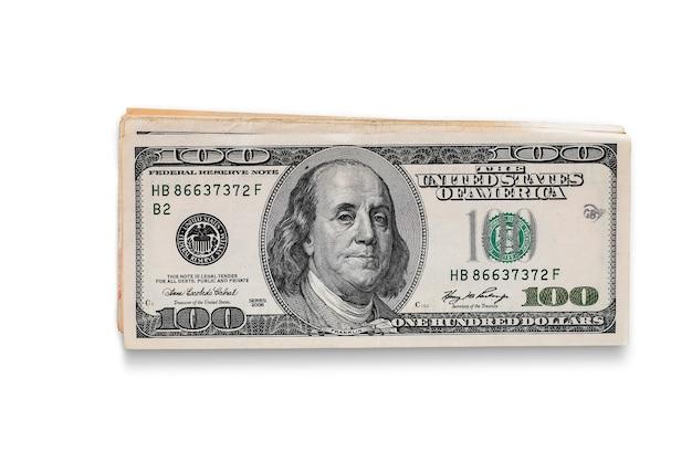 Billets en dollars américains sur fond blanc