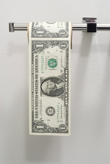 Billets de dollars en papier toilette