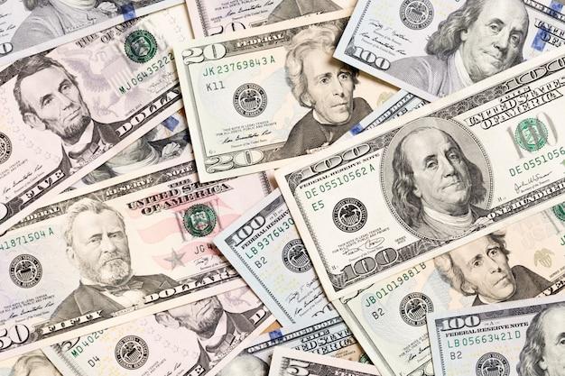 Billets en dollars vue de dessus