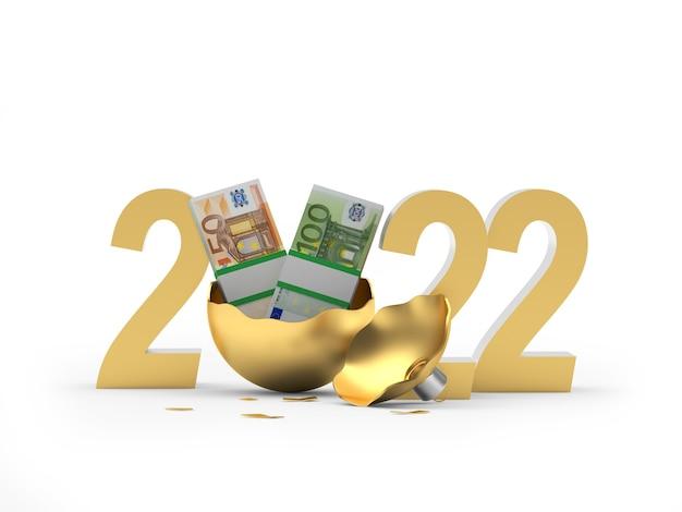 Billets en euros en boule de noël cassée dorée avec numéro de nouvel an