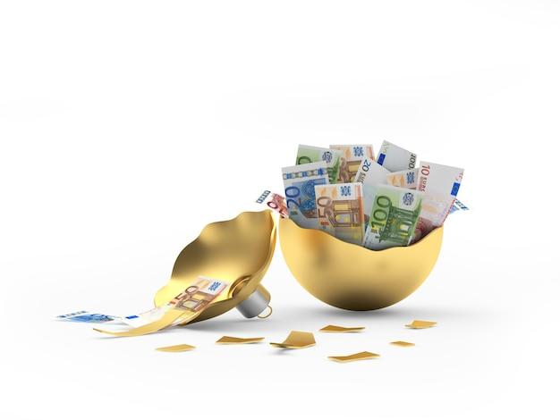 Billets en euros dans une boule de noël en or cassée