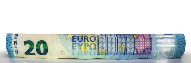 Billets en euros roulés dans un tube de l'argent de l'union européenne libre