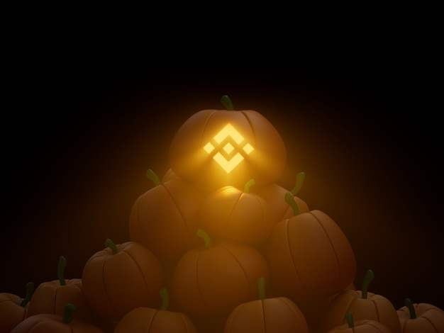 Binance sculpté potiron pile pile crypto monnaie illustration 3d rendu éclairage sombre