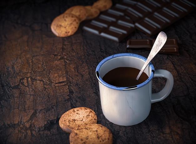 Biscuit aux pépites de chocolat et coupe au chocolat