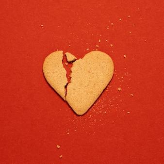 Biscuit en forme de coeur vue de dessus