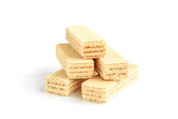 Biscuit gaufrette vanille isolé sur blanc
