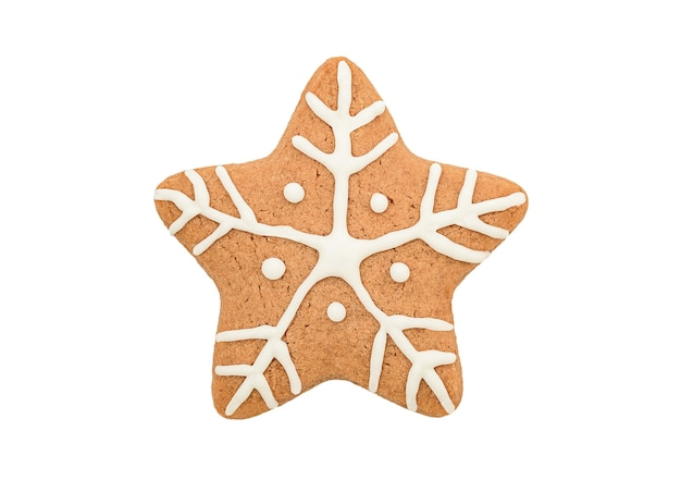 Biscuit de pain d'épice d'étoile de noël isolé sur fond blanc