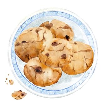 Biscuits aquarelle sur assiette.