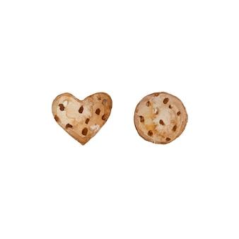 Biscuits au chocolat aquarelle dessinés à la main isolés sur fond blanc