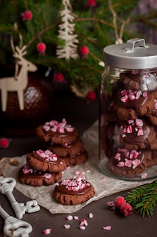 Biscuits au chocolat avec canne en poudre