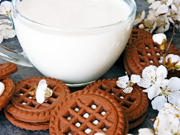 Biscuits au chocolat avec crème blanche et fleurs de sakura