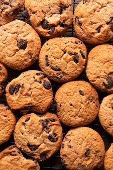 Biscuits au chocolat vue de dessus