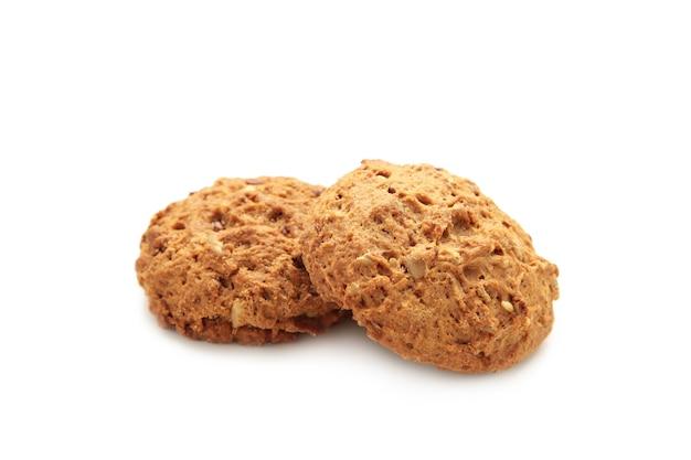 Biscuits à l'avoine isolés sur fond blanc.