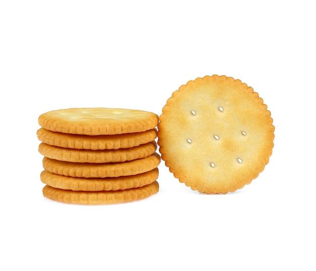 Biscuits craquelins isolés sur fond blanc