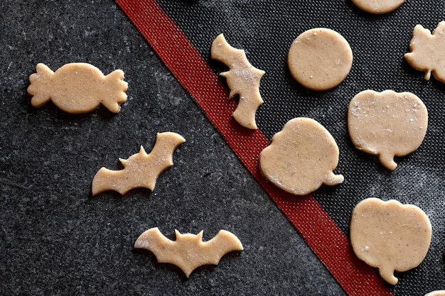 Biscuits de cuisson tapis de cuisson de pain d'épice de chauve-souris citrouille d'halloween