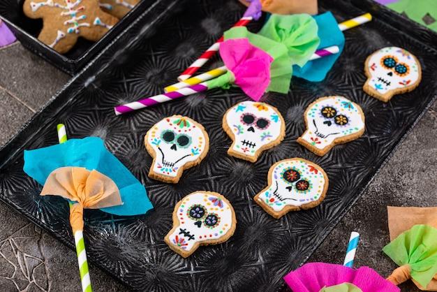 Biscuits du jour des morts en forme de crâne de sucre