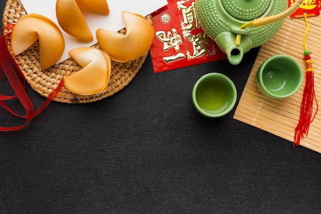 Biscuits de fortune du nouvel an à plat