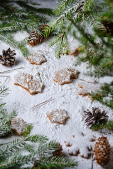 Biscuits de noël en pain d'épice aux épices, décorés de motifs hivernaux. dessert dans la forêt enneigée.